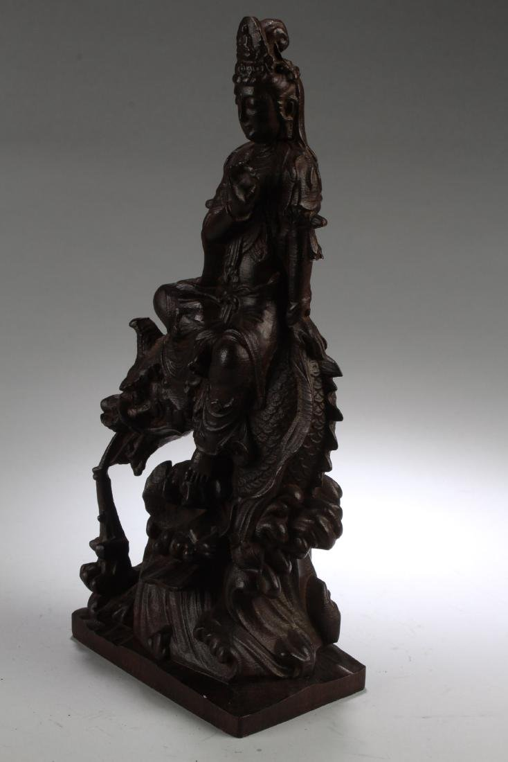 A Chinese Wooden Carved Guanyin Statue - 2