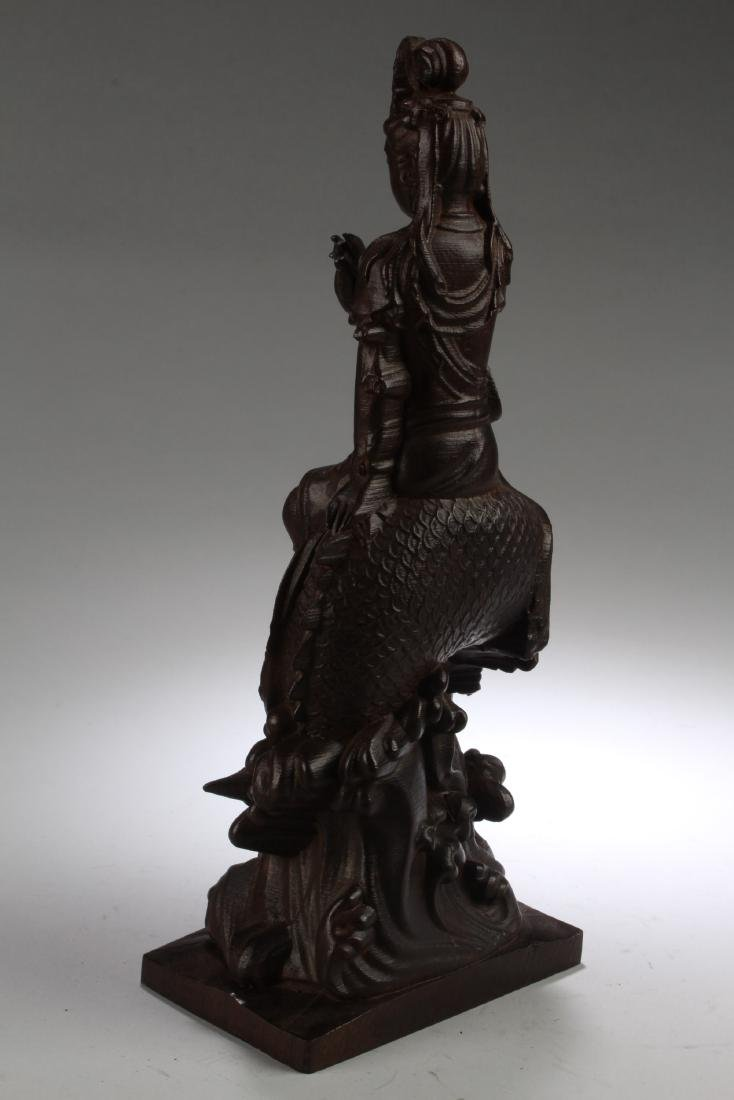 A Chinese Wooden Carved Guanyin Statue - 3