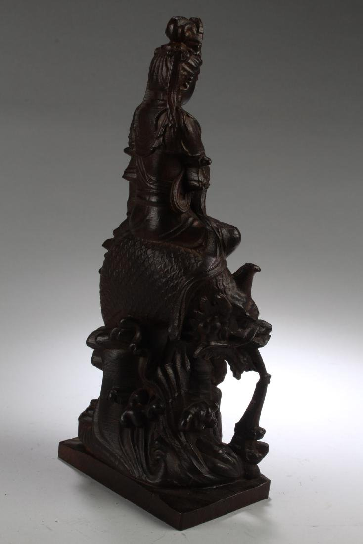 A Chinese Wooden Carved Guanyin Statue - 4