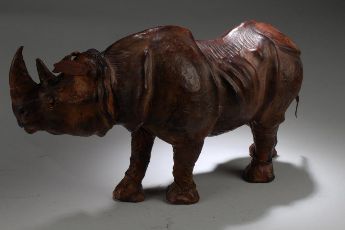 A Leather Crafted Rhino Statue