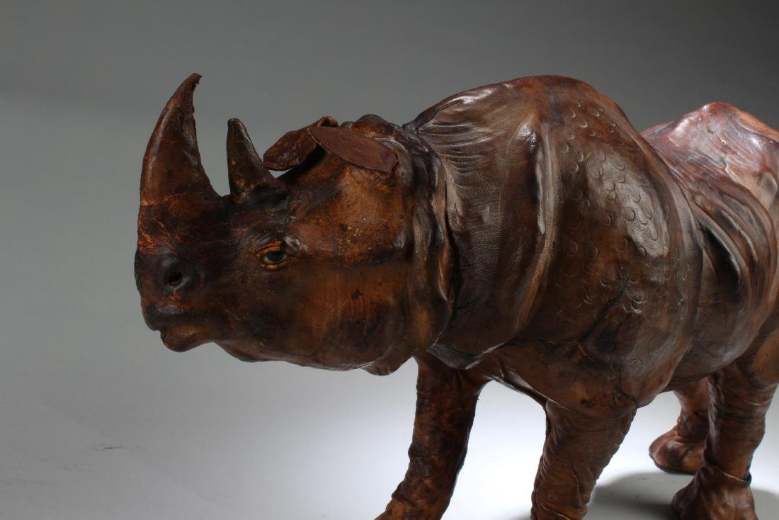 A Leather Crafted Rhino Statue - 2