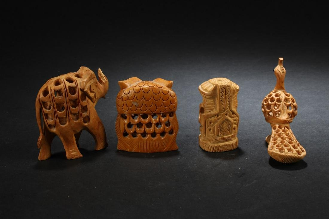 A Group of Four Wooden Carved Ornaments - 3