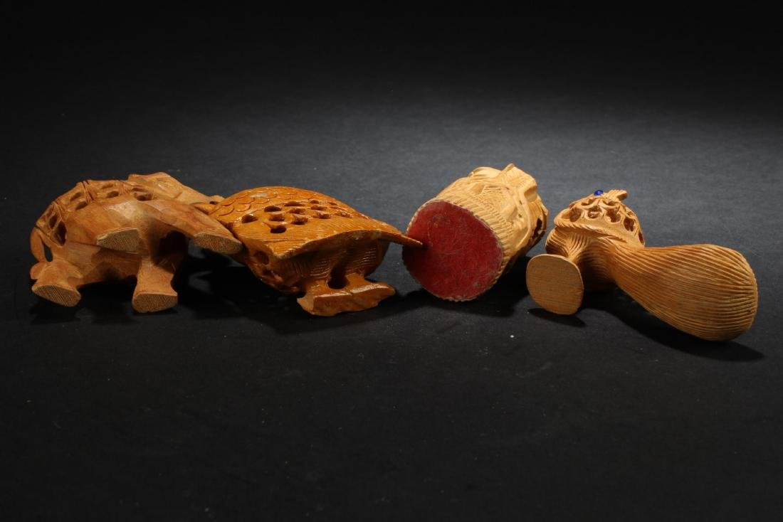 A Group of Four Wooden Carved Ornaments - 4