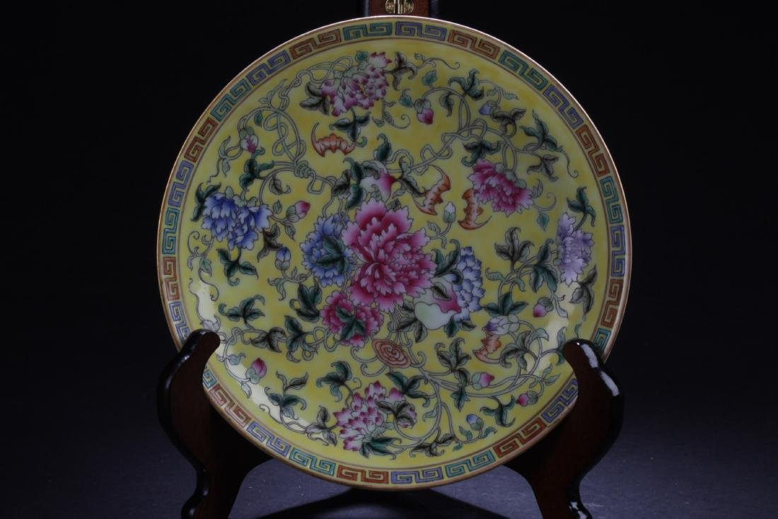 Chinese Famille Jaune Porcelain Plate