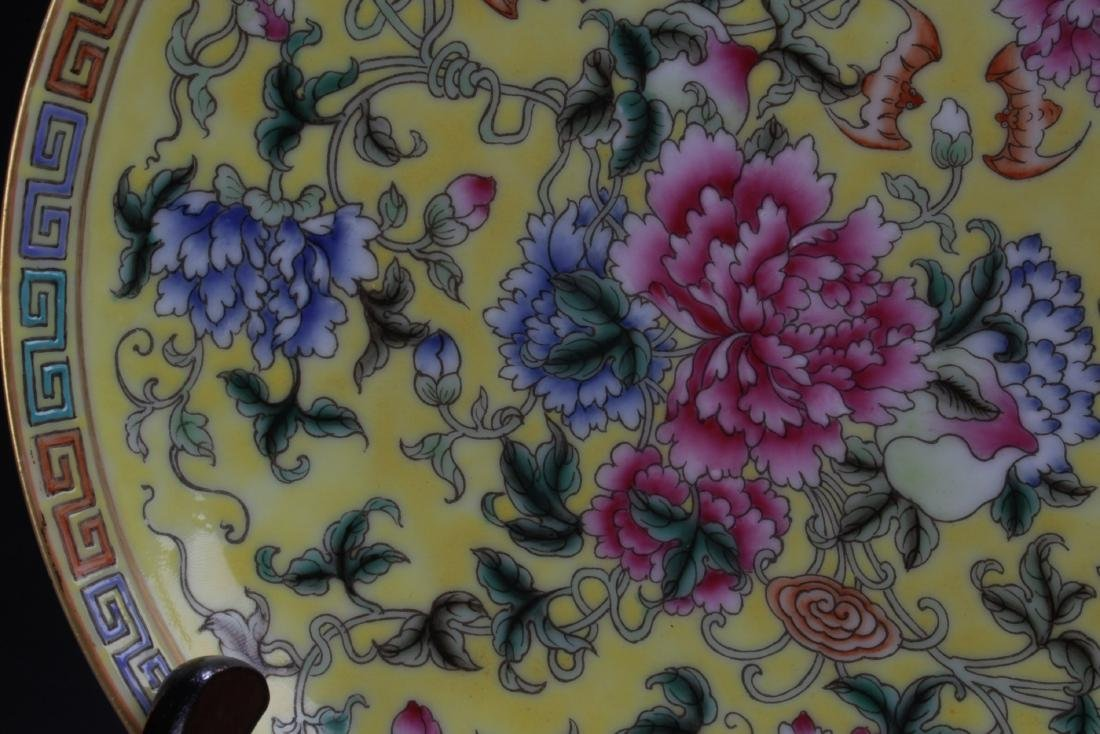 Chinese Famille Jaune Porcelain Plate - 5