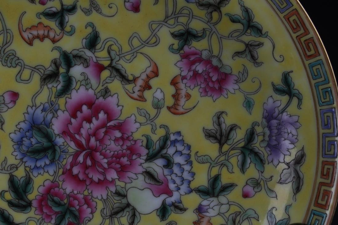 Chinese Famille Jaune Porcelain Plate - 6