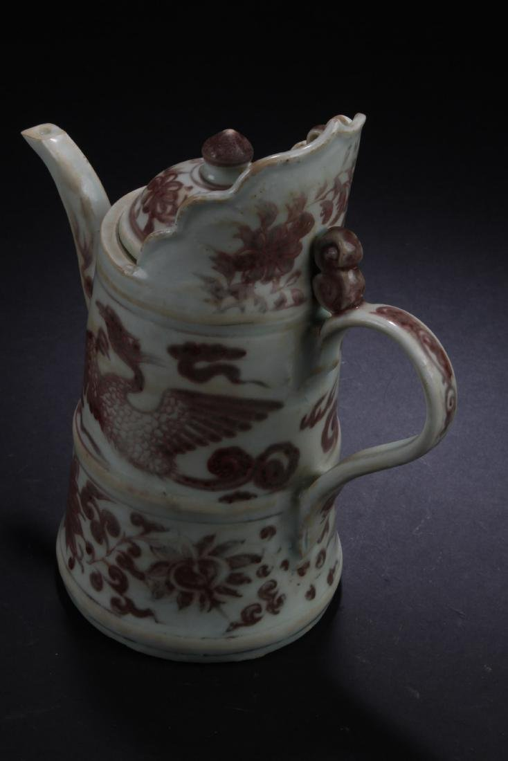 Chinese Iron Red Porcelain Ewer - 3