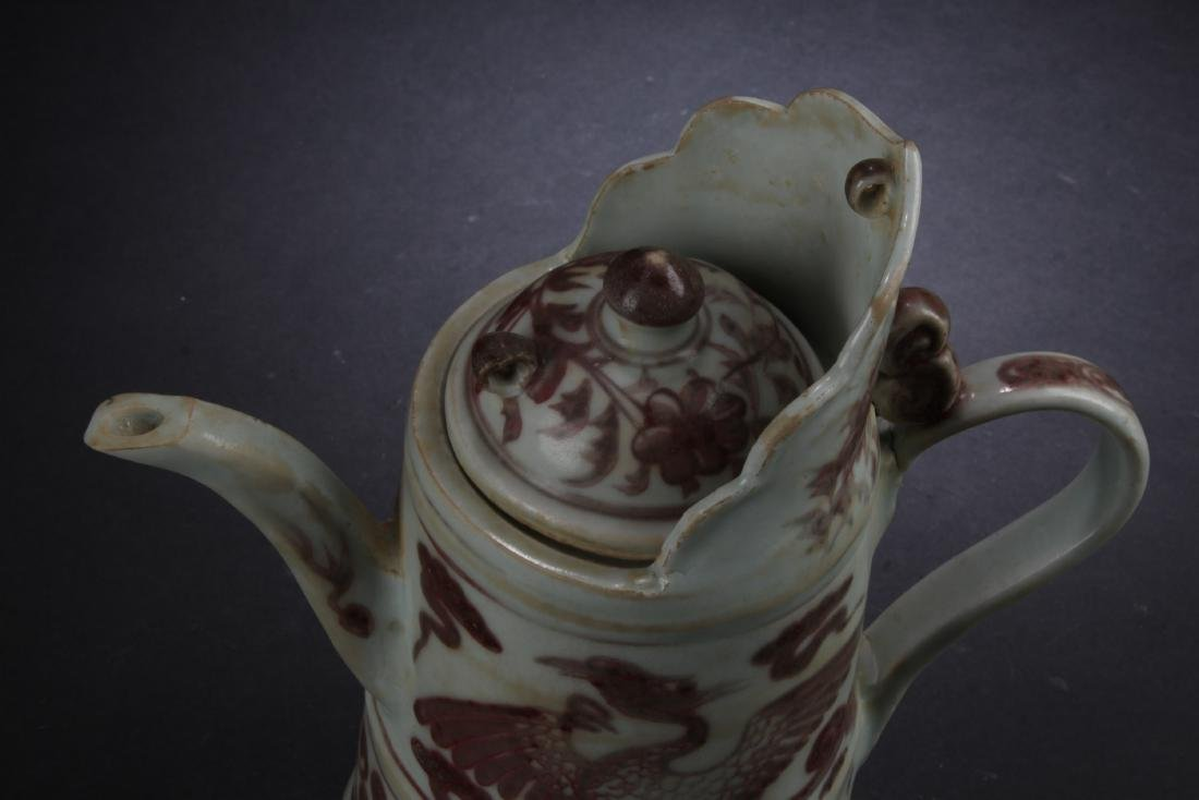 Chinese Iron Red Porcelain Ewer - 5