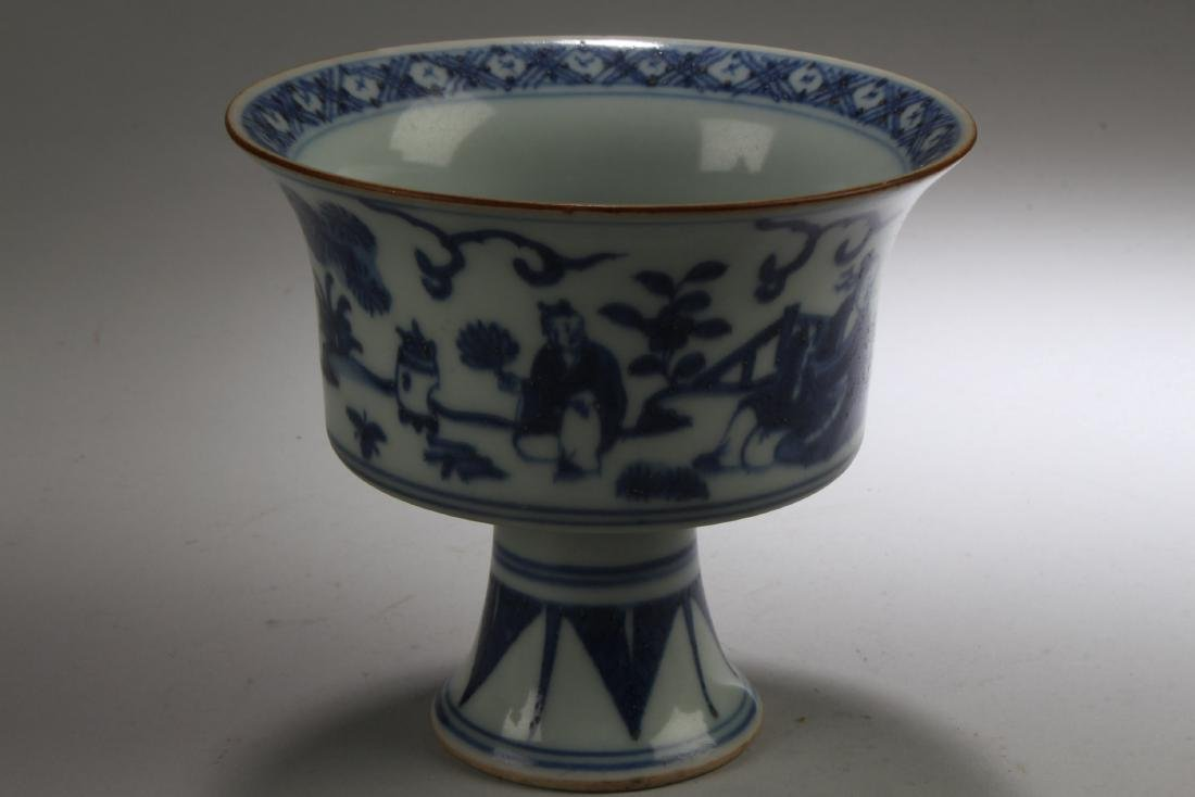 Chinese Blue & White Porcelain Stem Cup - 3