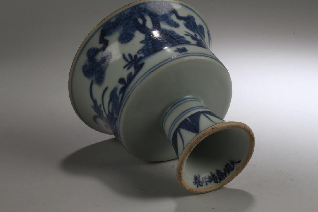 Chinese Blue & White Porcelain Stem Cup - 5