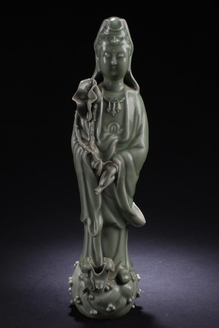 Chinese Enamel Guanyin Statue