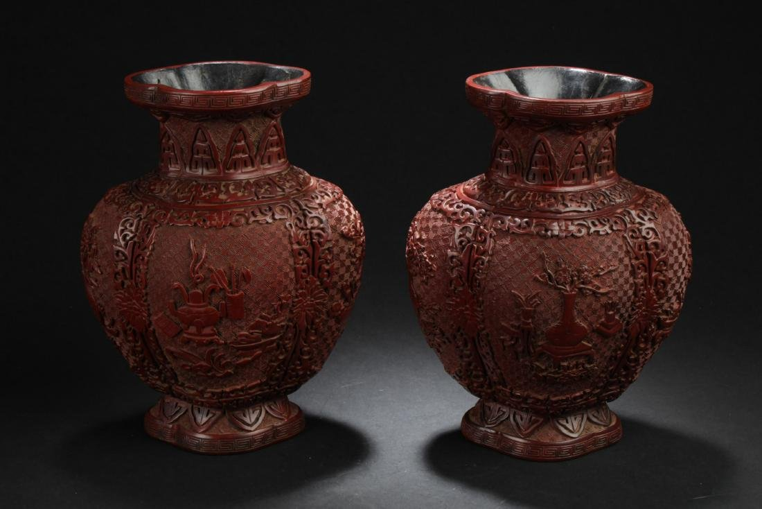 A Pair of Chinese Cinnabar Lacquered Vases