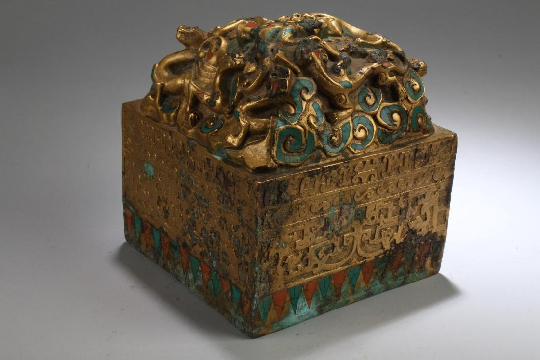 Chinese Gilt Bronze Square Shaped Seal