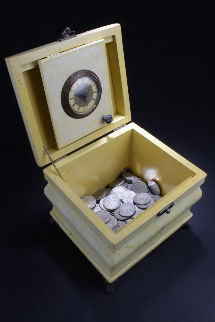 Chinese Wooden Clock Box filled with coins