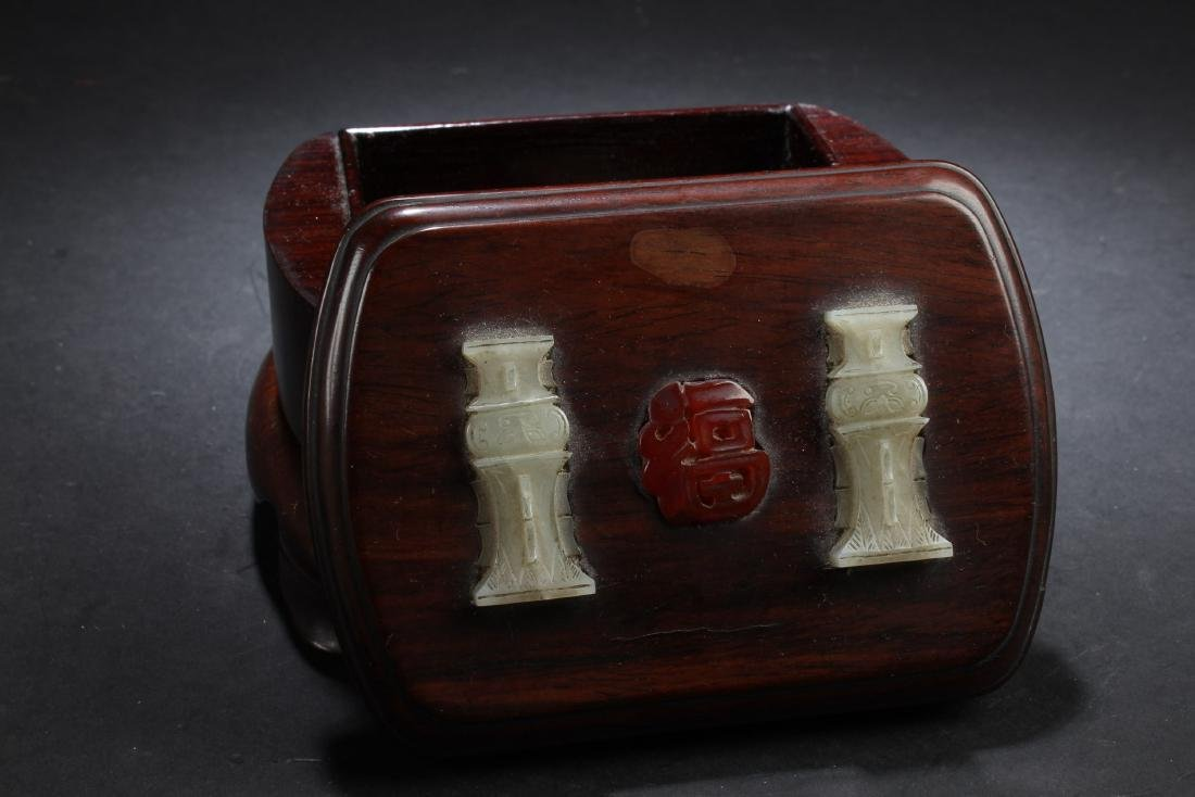 Antique Chinese Wooden Box with Jade and Agate Inlay
