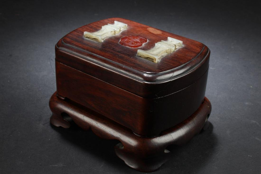 Antique Chinese Wooden Box with Jade and Agate Inlay - 3