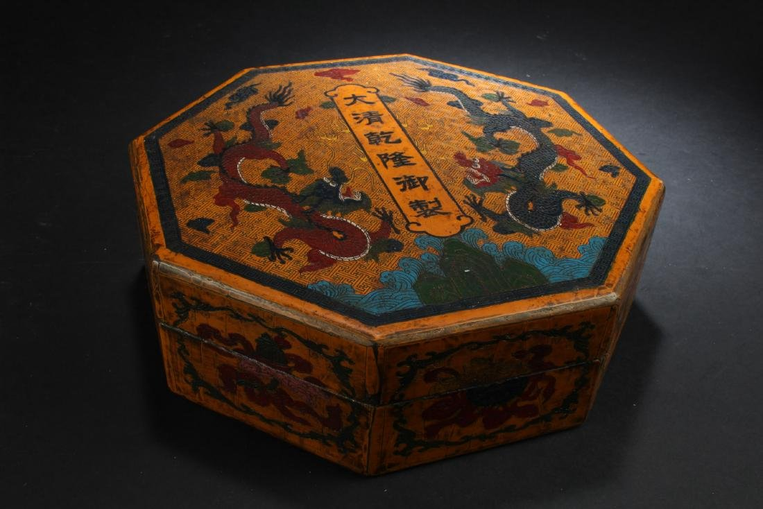 Chinese Lacquered Octagonal Shaped Treasure Box