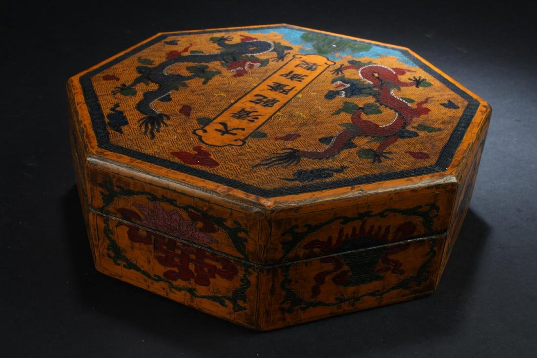 Chinese Lacquered Octagonal Shaped Treasure Box - 3