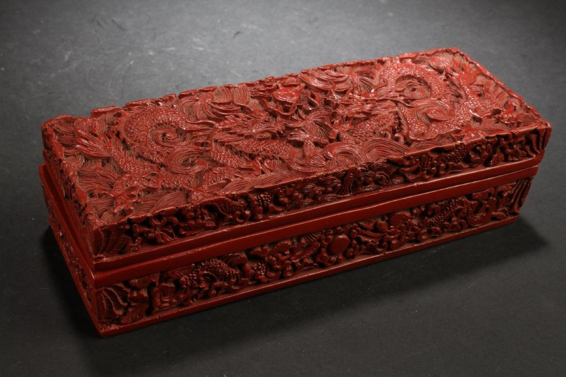 Chinese Cinnabar Lacquered Rectangle Box