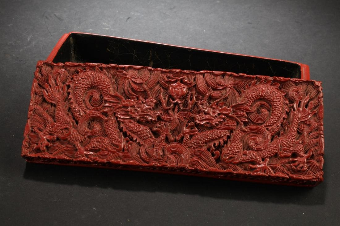 Chinese Cinnabar Lacquered Rectangle Box - 3
