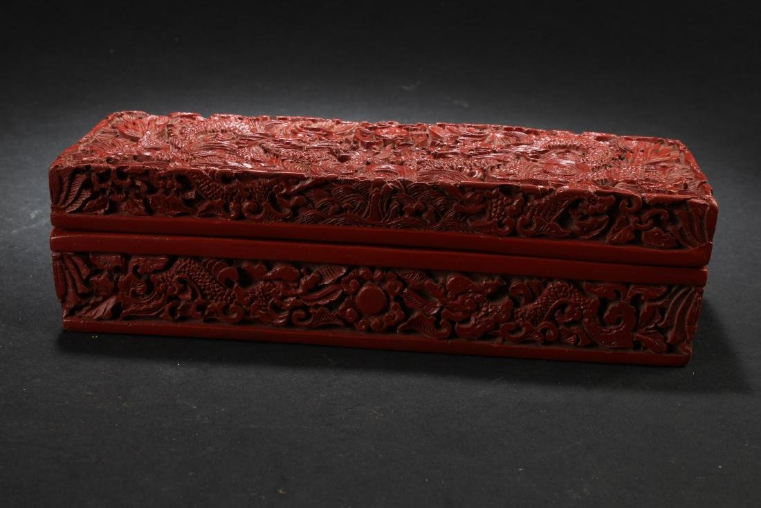 Chinese Cinnabar Lacquered Rectangle Box - 4