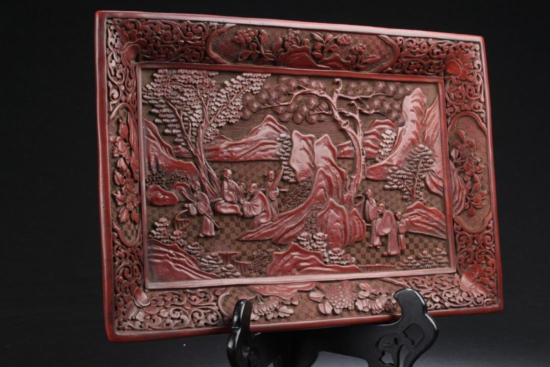 A Mountain-view Chinese Lacquer Fortune Plate Display - 2