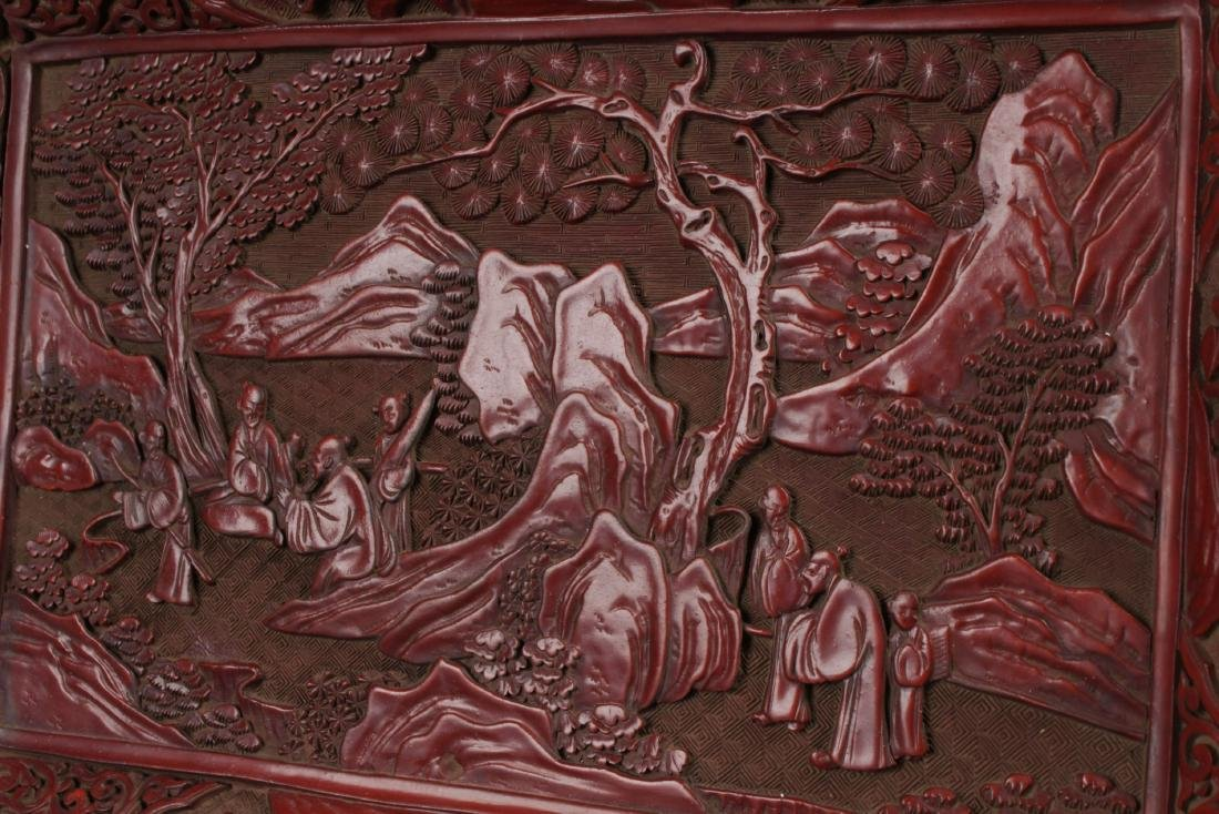 A Mountain-view Chinese Lacquer Fortune Plate Display - 4