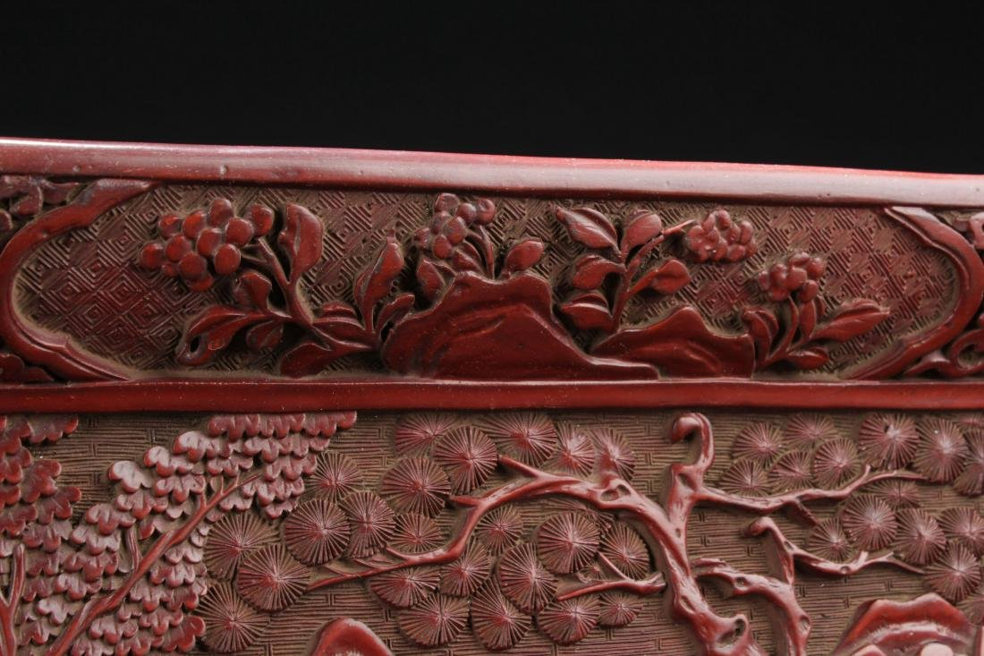 A Mountain-view Chinese Lacquer Fortune Plate Display - 6