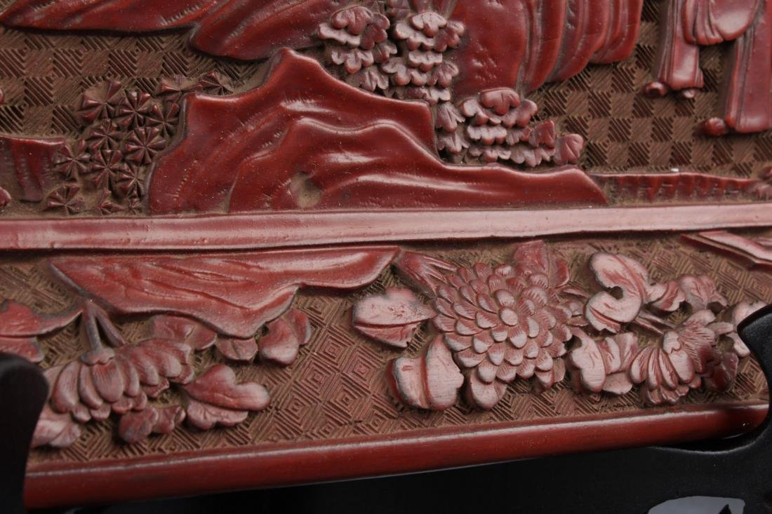 A Mountain-view Chinese Lacquer Fortune Plate Display - 7