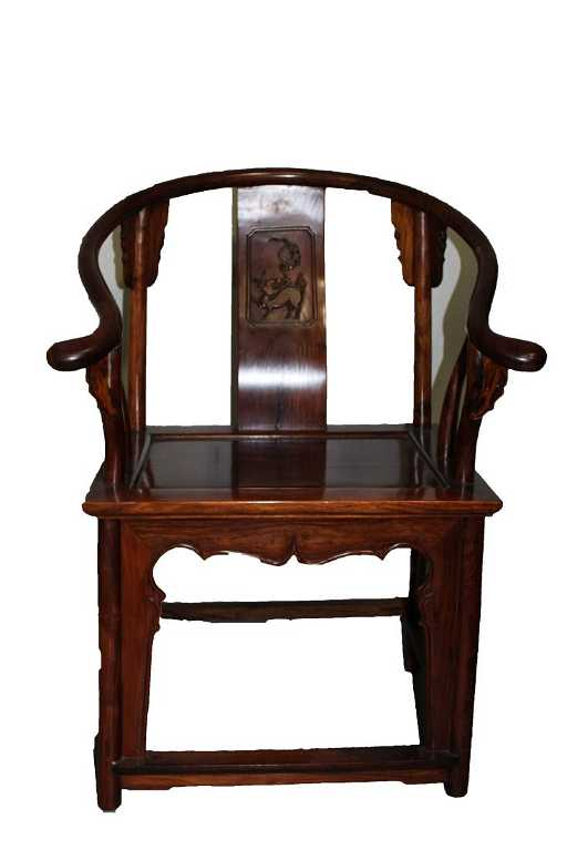 - Antique Chinese Huanghuali Horseshoe Back Chair