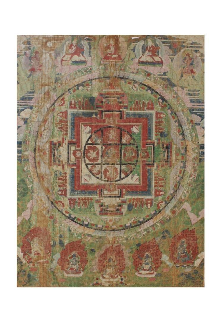 Antique Tibetan Framed Thangka, possibly 17th C