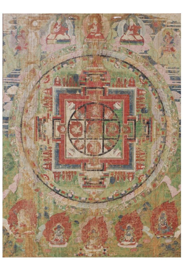 Antique Tibetan Framed Thangka, possibly 17th C - 2