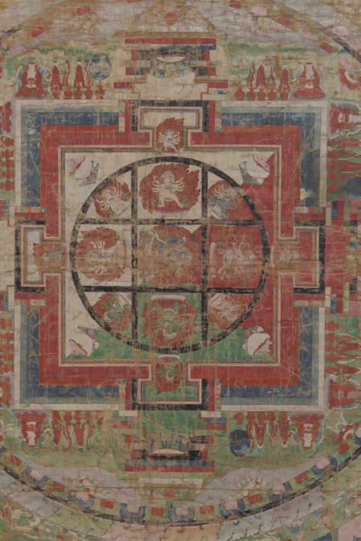Antique Tibetan Framed Thangka, possibly 17th C - 3
