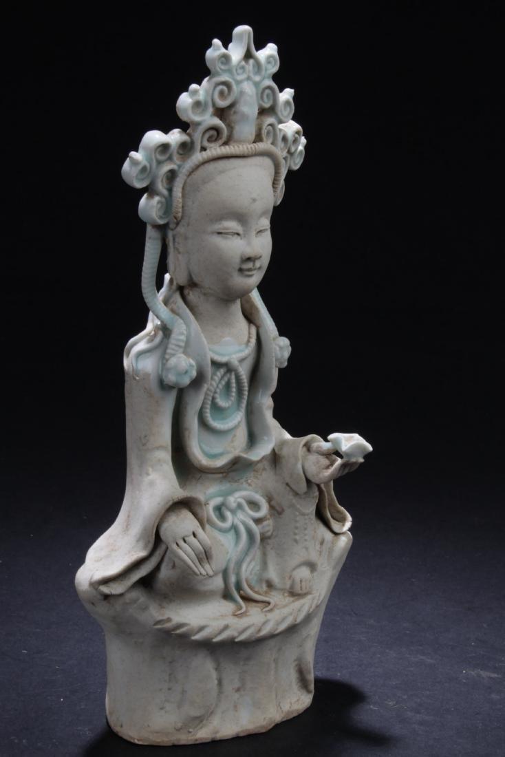 Chinese Porcelain Bodhisattva Statue - 2