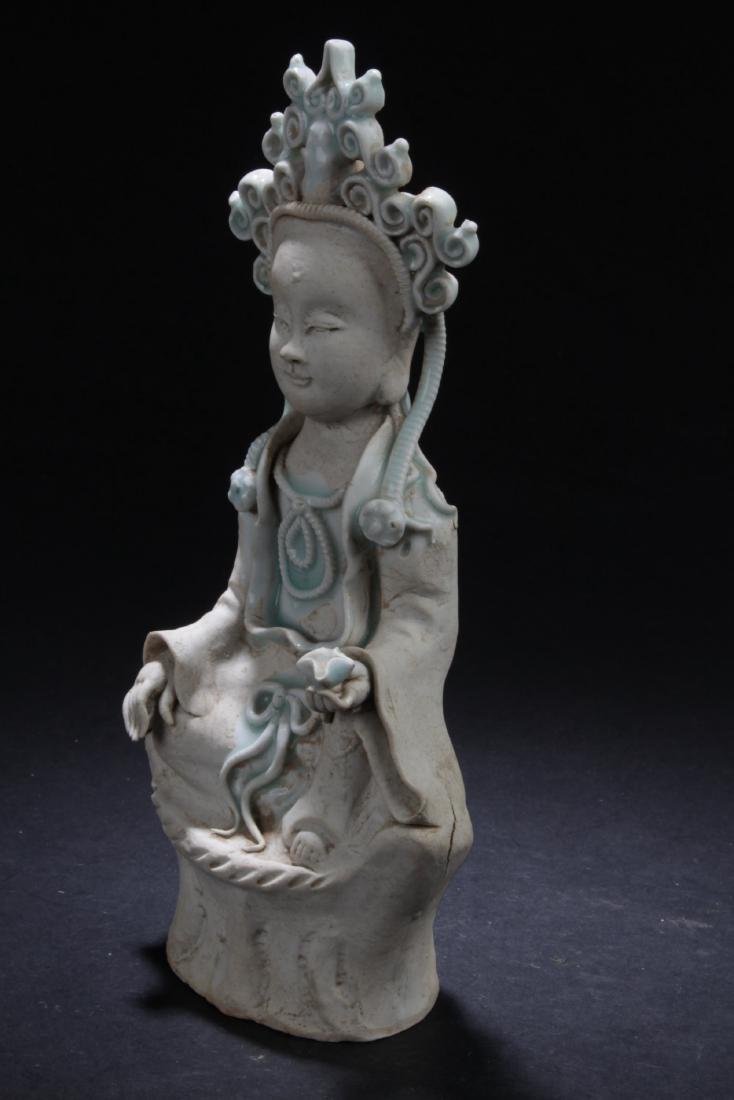 Chinese Porcelain Bodhisattva Statue - 3