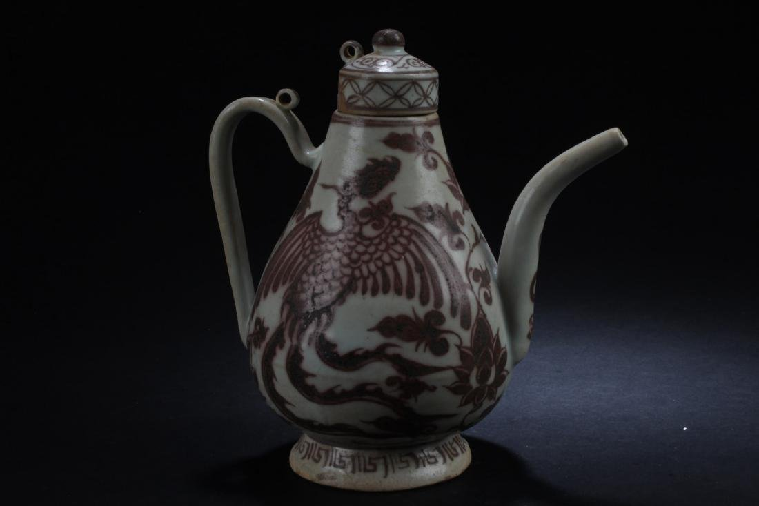 Chinese Iron Red Porcelain Teapot