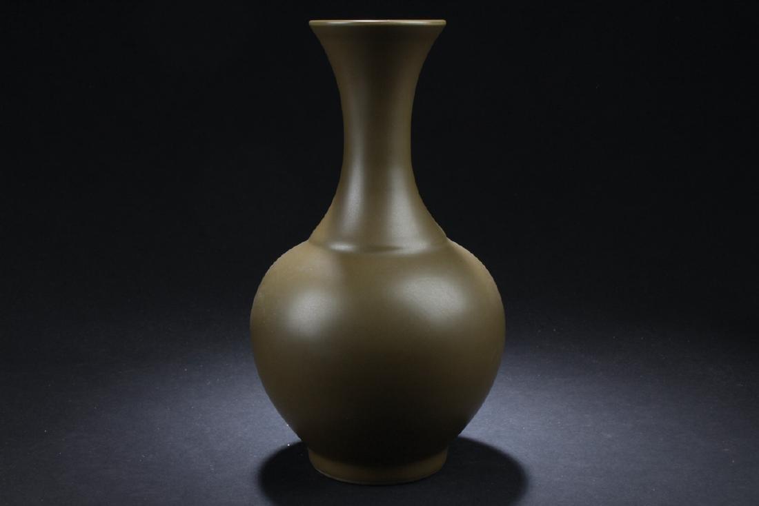 A Chinese Tea-color Estate Plain-style Porcelain Vase - 2