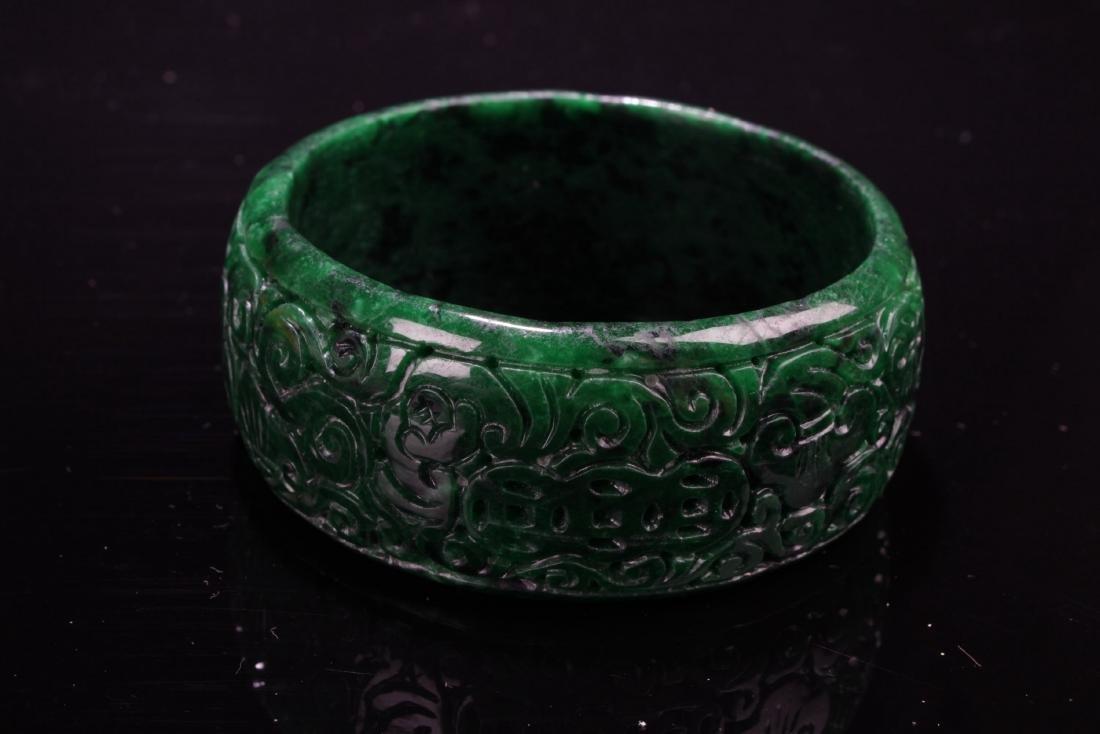 Chinese Jadeite Jade Bangle - 3