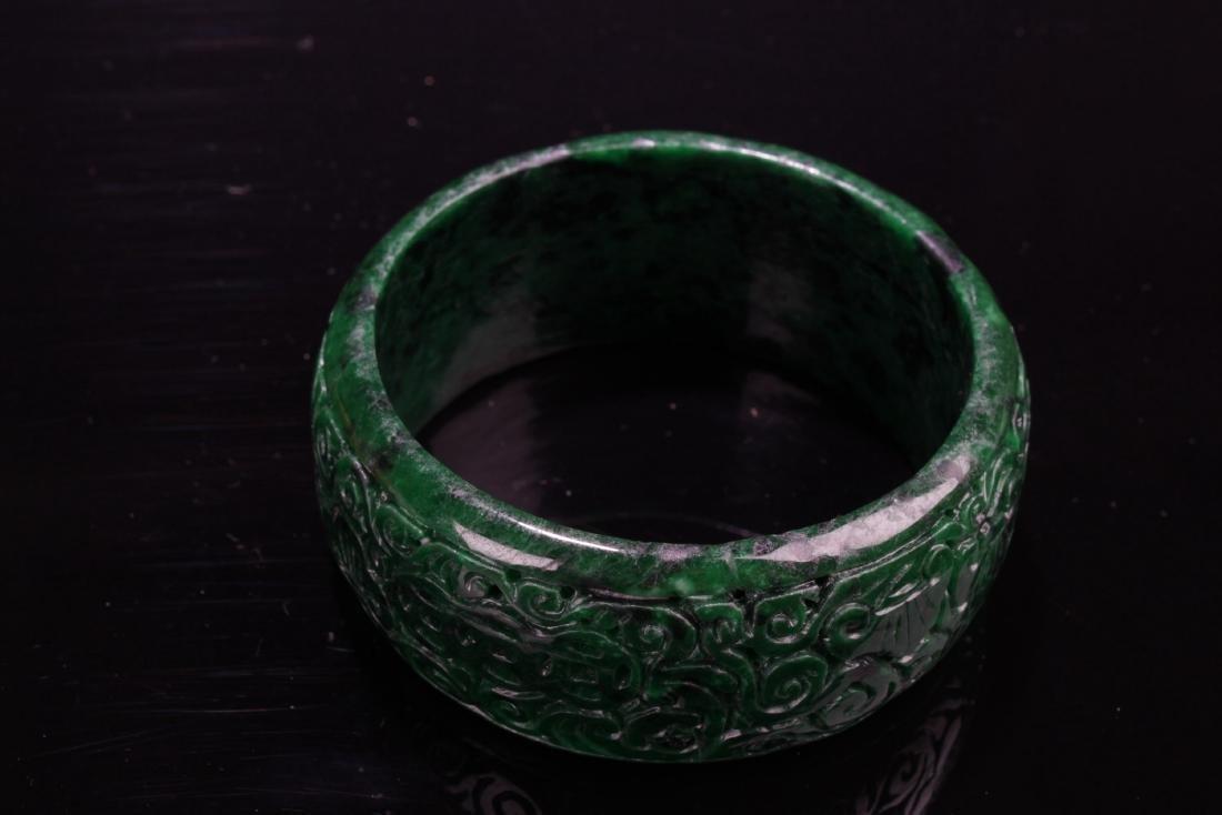 Chinese Jadeite Jade Bangle - 6