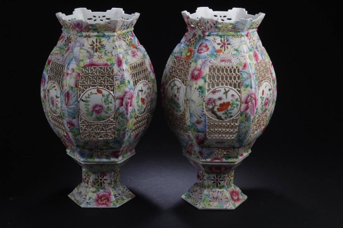 A Pair of Antique Chinese Famille Rose Porcelain