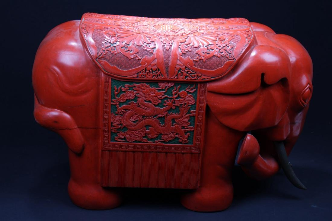 An Unique Antique Chinese Cinnabar Lacquered elephant