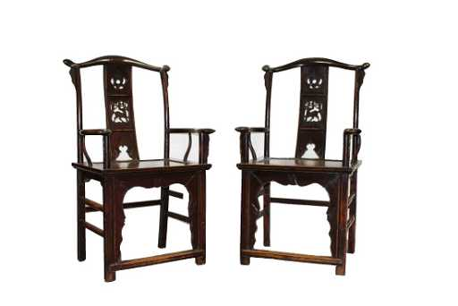- A Pair Of Antique Chinese Hardwood ArmRest Chairs