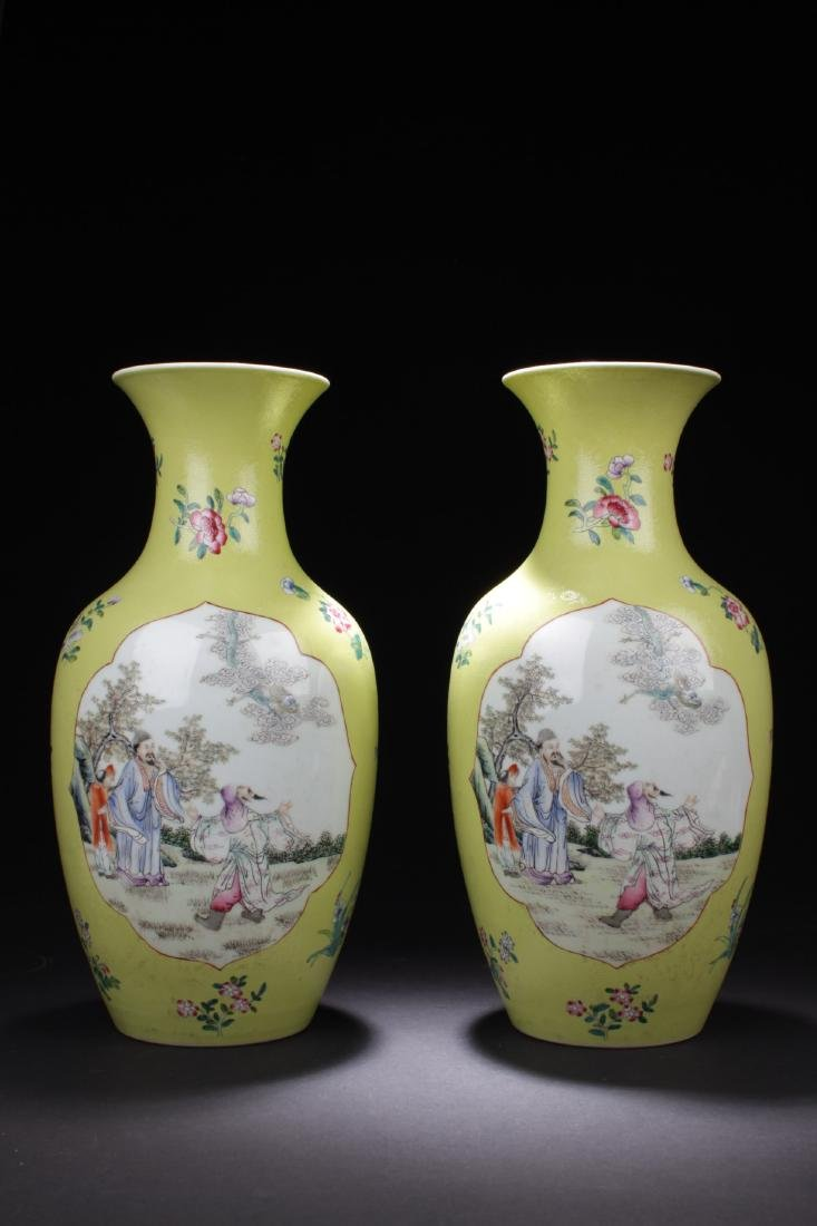 A Pair of Antique Chinese Famille Rose Vases