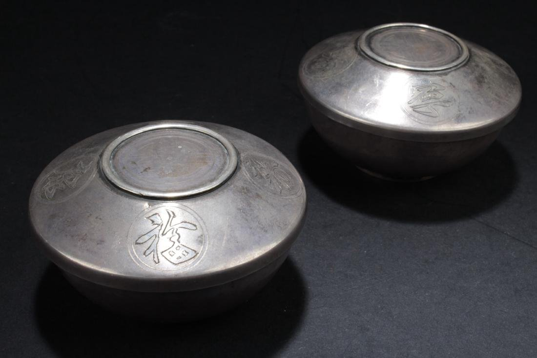 Two Antique Chinese Silver Cups with Lid Cover (From