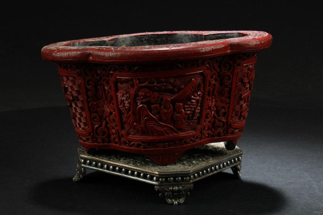 Antique Chinese Cinnabar Lacquer Container with Bronze