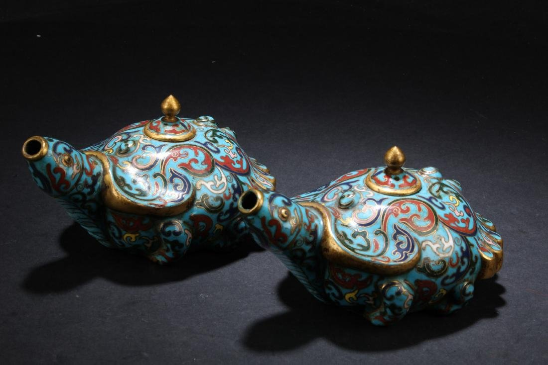 A Pair of Antique Chinese Cloisonne Water Droppers
