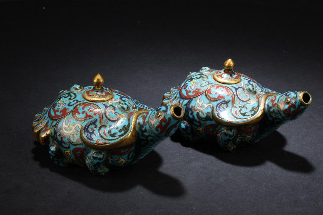 A Pair of Antique Chinese Cloisonne Water Droppers - 2