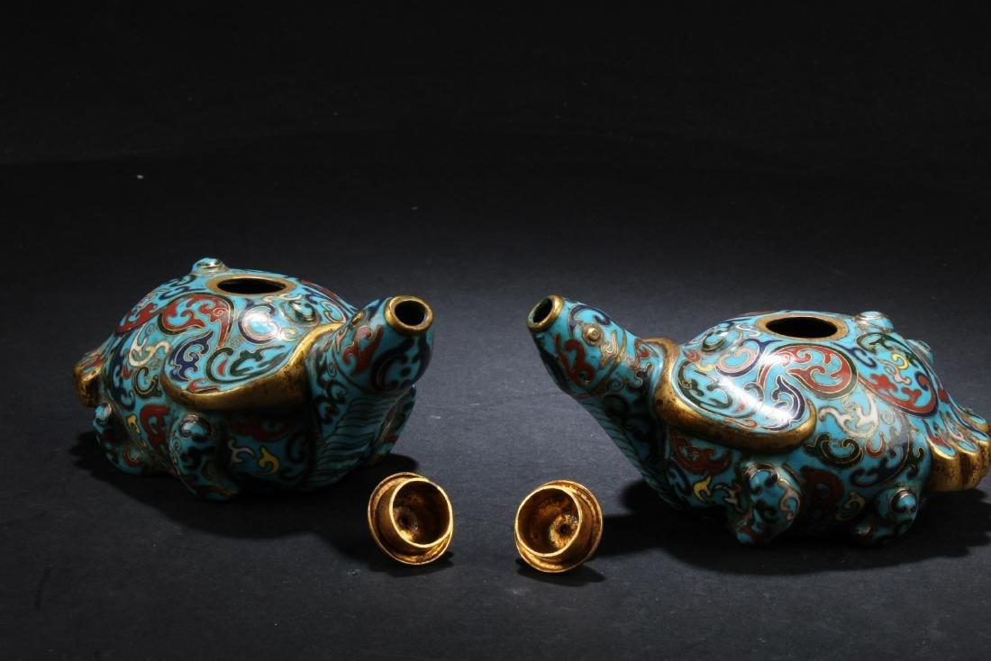 A Pair of Antique Chinese Cloisonne Water Droppers - 3