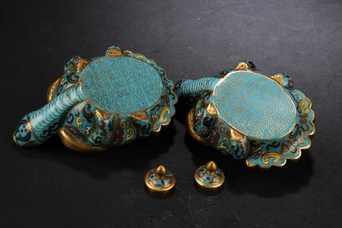 A Pair of Antique Chinese Cloisonne Water Droppers - 4