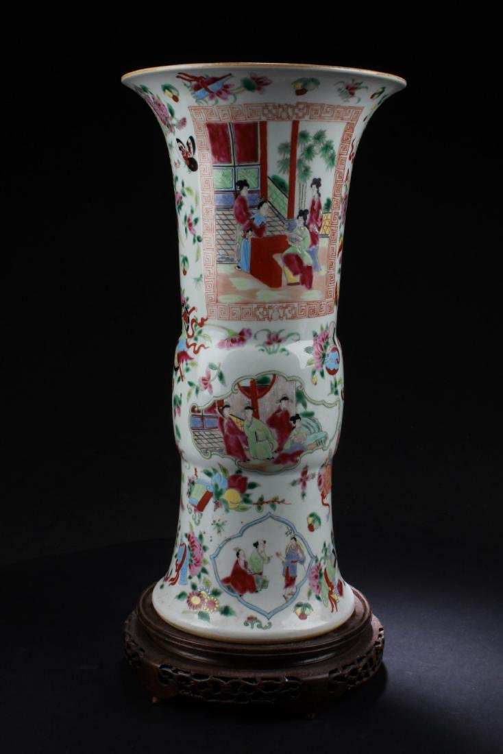 Chinese Famille Rose Porcelain Vase with Wooden Stand